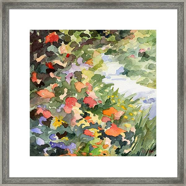 Path Monets Garden Watercolor Paintings Of France Framed Print