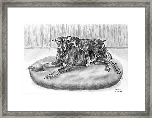 Patience - Doberman Pinscher And Puppy Print Framed Print