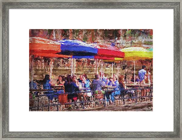 Patio At The Riverwalk Framed Print