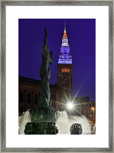 Patriotic Cleveland Fountain  Framed Print