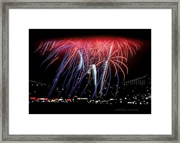 Patriotic Fireworks S F Bay Framed Print