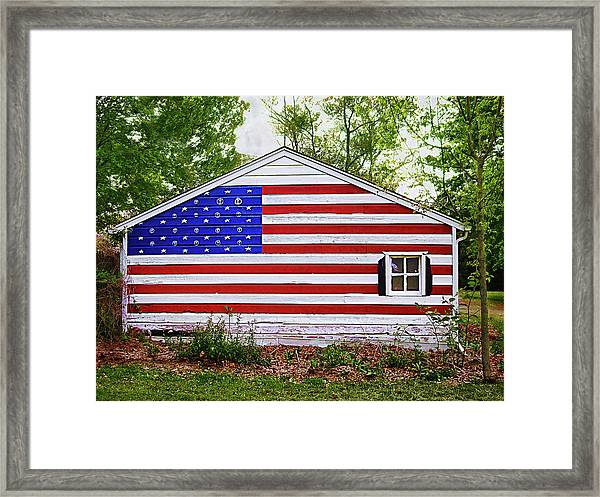 Patriots Garage Framed Print
