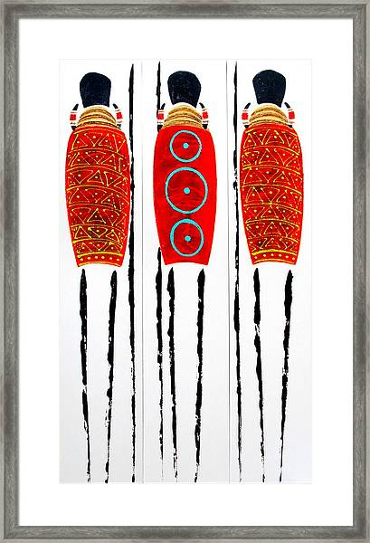 Patterned Masai Triptych Framed Print