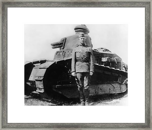 Patton Beside A Renault Tank - Wwi Framed Print