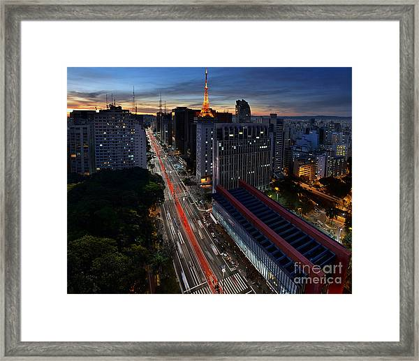 Paulista Avenue And Masp At Dusk - Sao Paulo - Brazil Framed Print