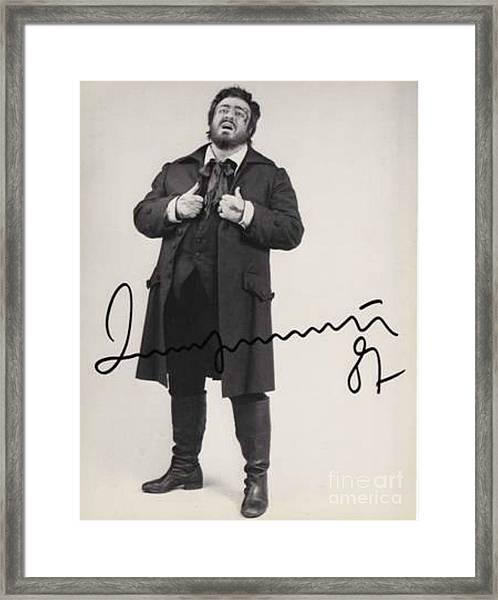 Pavarotti Autographed Photo  Framed Print