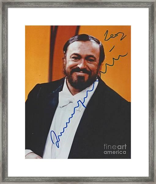 Pavarotti Autographed Print Framed Print