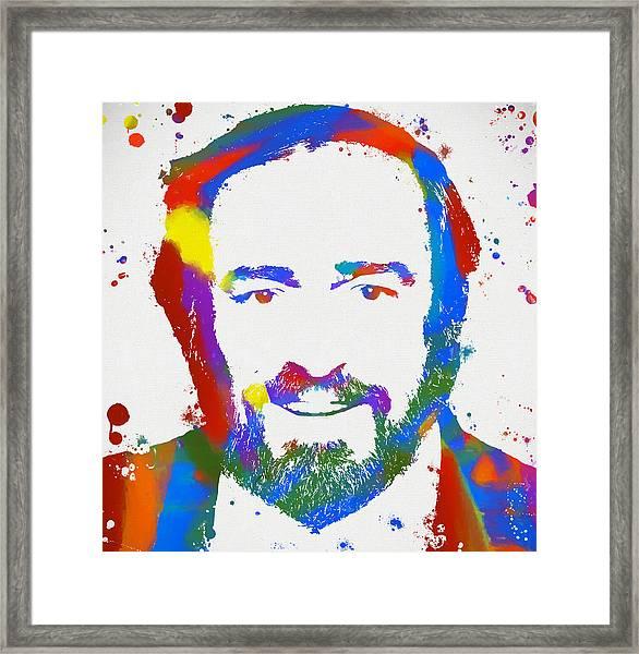 Pavarotti Colorful Paint Splatter Framed Print