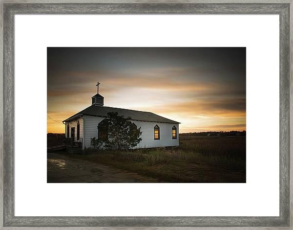 Pawleys Chapel Sunset Framed Print