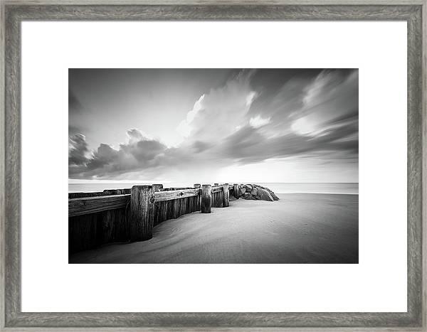 Pawleys Island Groin Sunrise Bw Framed Print