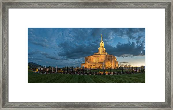Payson Temple Panorama Framed Print