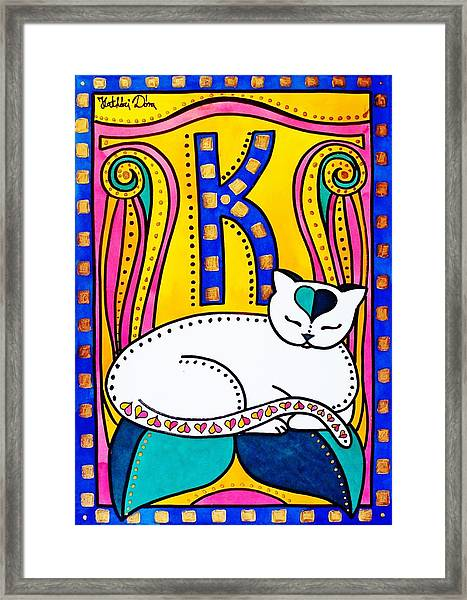 Peace And Love - Cat Art By Dora Hathazi Mendes Framed Print