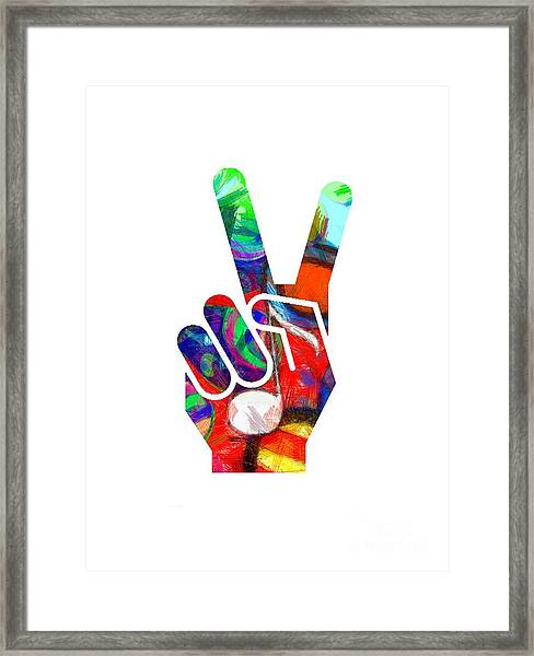 Framed Print featuring the digital art Peace Hippy Paint Hand Sign by Edward Fielding