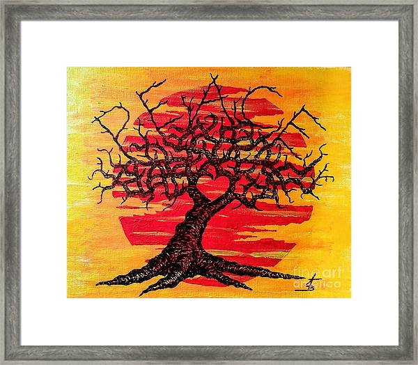 Framed Print featuring the drawing Peace Love Tree by Aaron Bombalicki