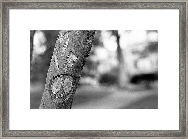 Peace Sign Carving, 1975 Framed Print