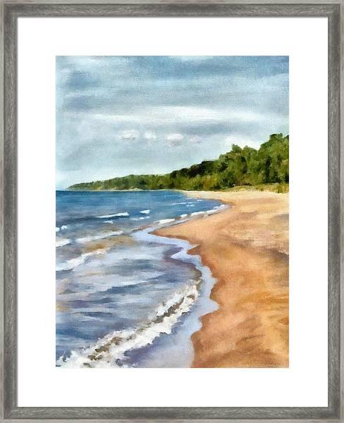 Peaceful Beach At Pier Cove Ll Framed Print
