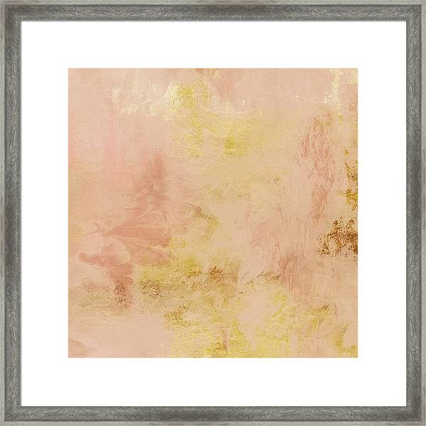 Peach Harvest- Abstract Art By Linda Woods. Framed Print