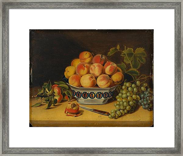 Peaches And Grapes Framed Print