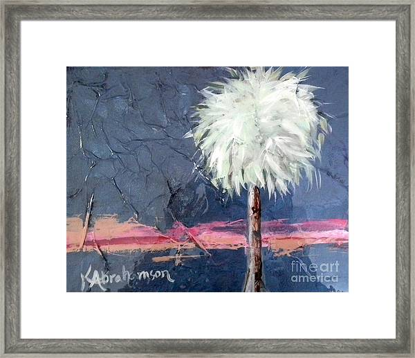 Peachy Horizons Palm Tree Framed Print