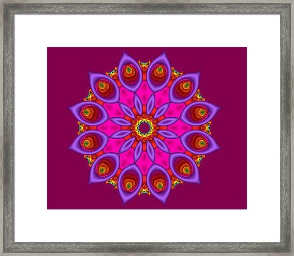 Peacock Fractal Flower II Framed Print