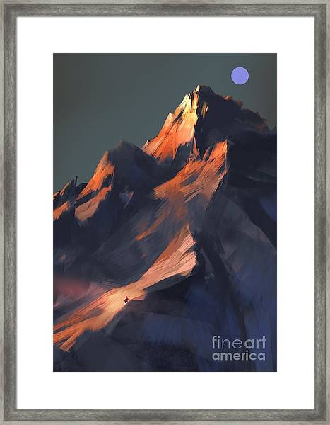 Framed Print featuring the painting Peak by Tithi Luadthong