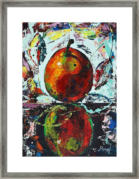 Pear And Reflection Framed Print