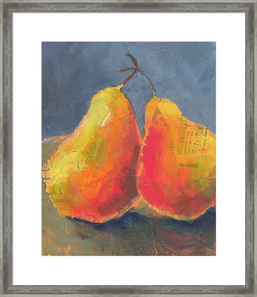 Framed Print featuring the painting Pear Love by Shelli Walters