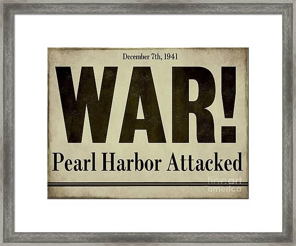 Pearl Harbor Attack Newspaper Headline Framed Print