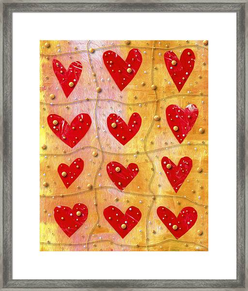 Pearly Hearts Valentine Framed Print