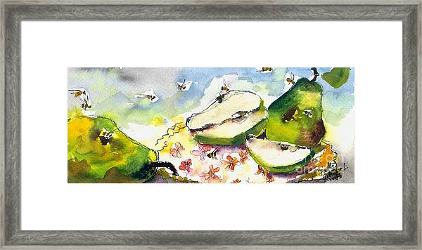 Pears And Bees  Framed Print by Ginette Callaway