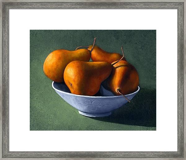 Pears In Blue Bowl Framed Print