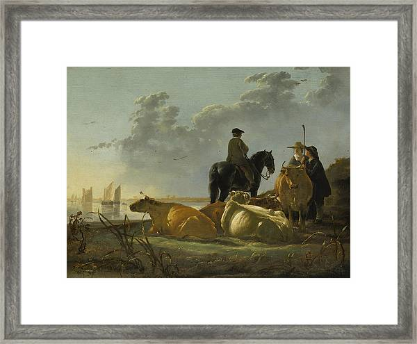 Peasants With Four Cows By The River Merwede Framed Print