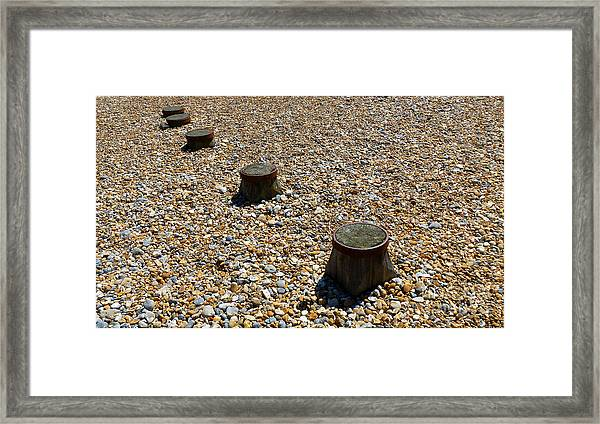 Pebbles And Wood Framed Print