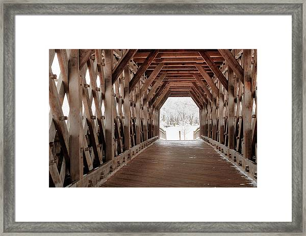 Pedestrian Lattice Bridge Framed Print