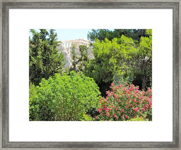 Peek Of The Parthenon Framed Print