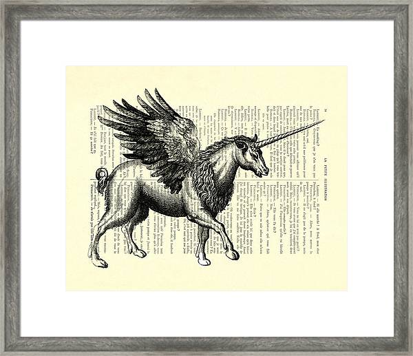 Pegasus Black And White Framed Print