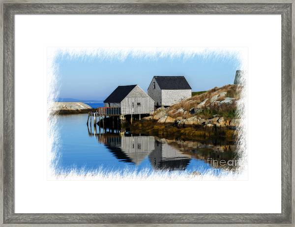 Peggys Cove Marina With Fishing Houses  Framed Print