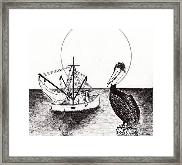 Pelican Fishing Paradise C1 Framed Print