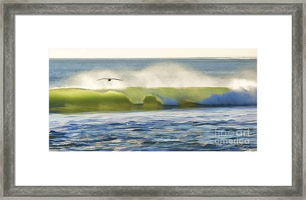 Pelican Flying Over Wind Wave Framed Print