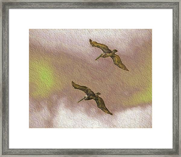 Pelicans On Cave Wall Framed Print