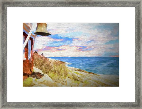 Pemaquid Lighthouse Bell On Maine Rocky Coast. Framed Print