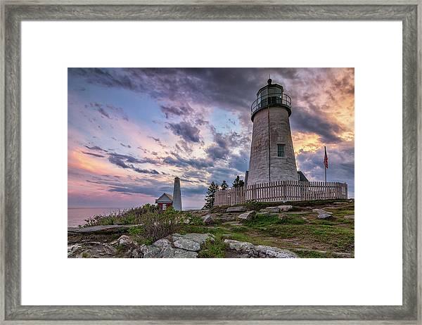 Pemaquid Point Lighthouse At Sundown Framed Print