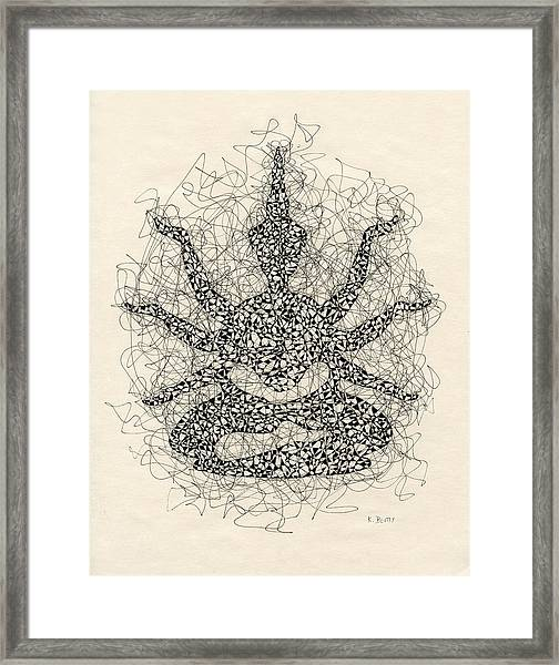 Pen And Ink Drawing Buddha  Framed Print