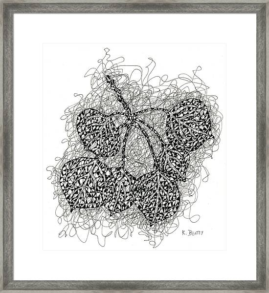 Pen And Ink Drawing Of Aspen Leaves Framed Print