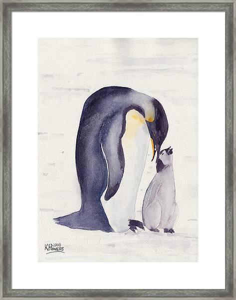 Penguin And Baby Framed Print