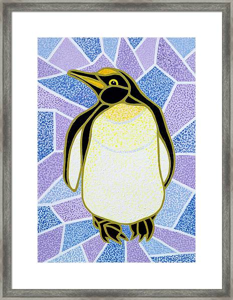 Penguin On Stained Glass Framed Print