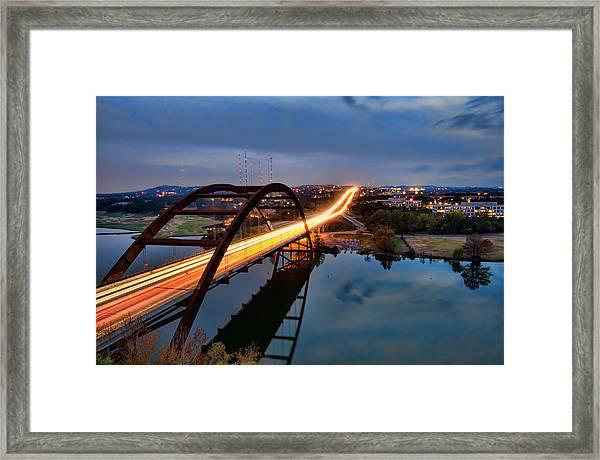 Pennybacker Bridge At Dusk Framed Print