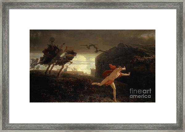 Pentheus Pursued By The Maenads Framed Print