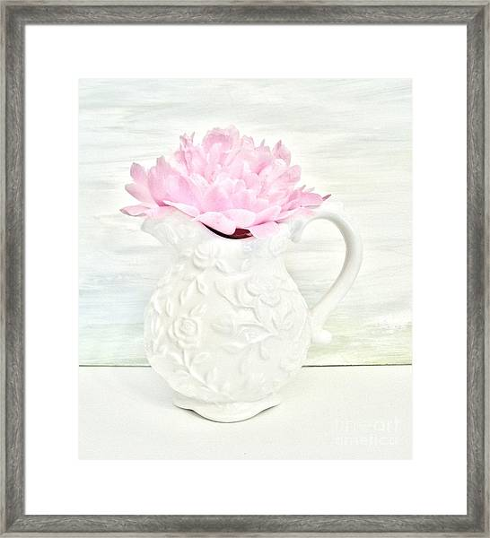 Peony In A Pitcher Framed Print by Marsha Heiken