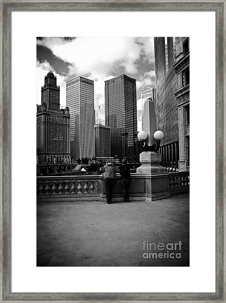 People And Skyscrapers Framed Print